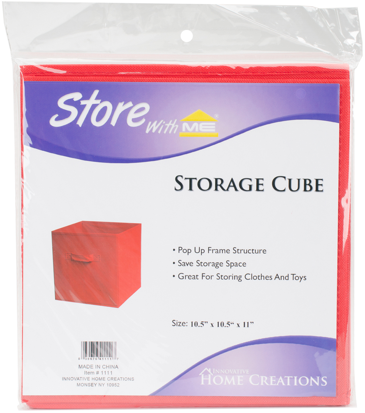 "Square Fabric Storage Cube 10.5""X10.5""X11""-Red"