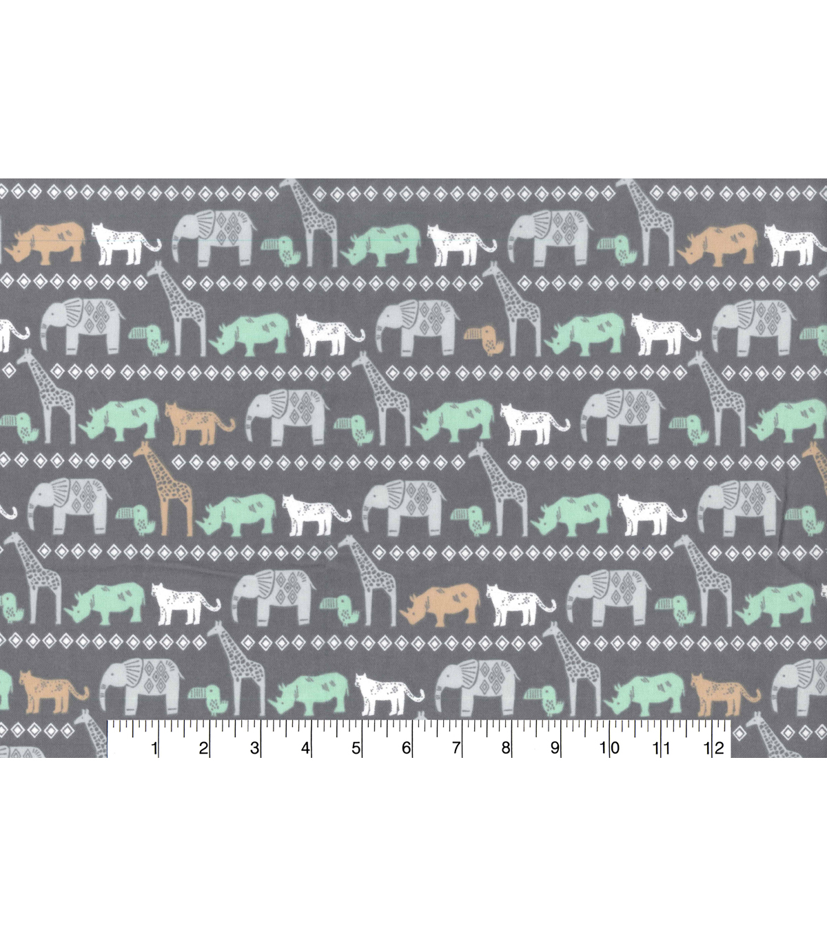 Nursery Flannel Fabric 42\u0027\u0027-Safari Animals Lines