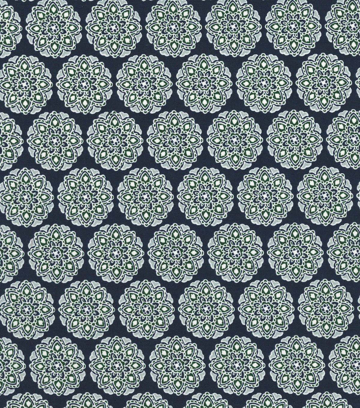 Quilter\u0027s Showcase™ Cotton Fabric 44\u0022-Green Navy Intricate Med