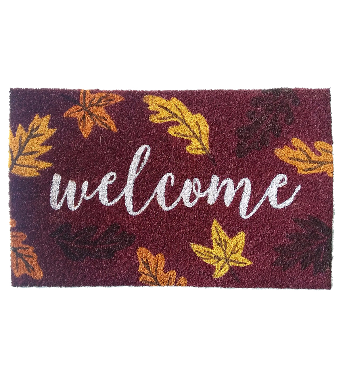 Fall Into Color 18\u0027\u0027x30\u0027\u0027 Coir Mat-Welcome & Leaf
