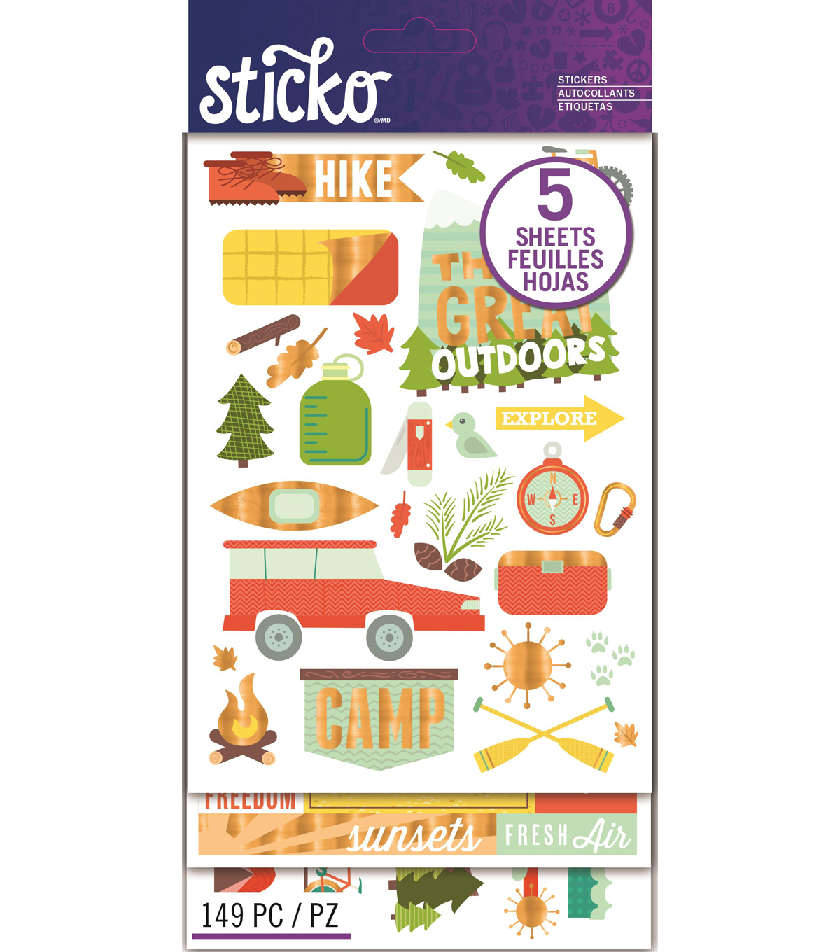 Sticko® 149 Pack Flip Stickers-Outdoor Vacation
