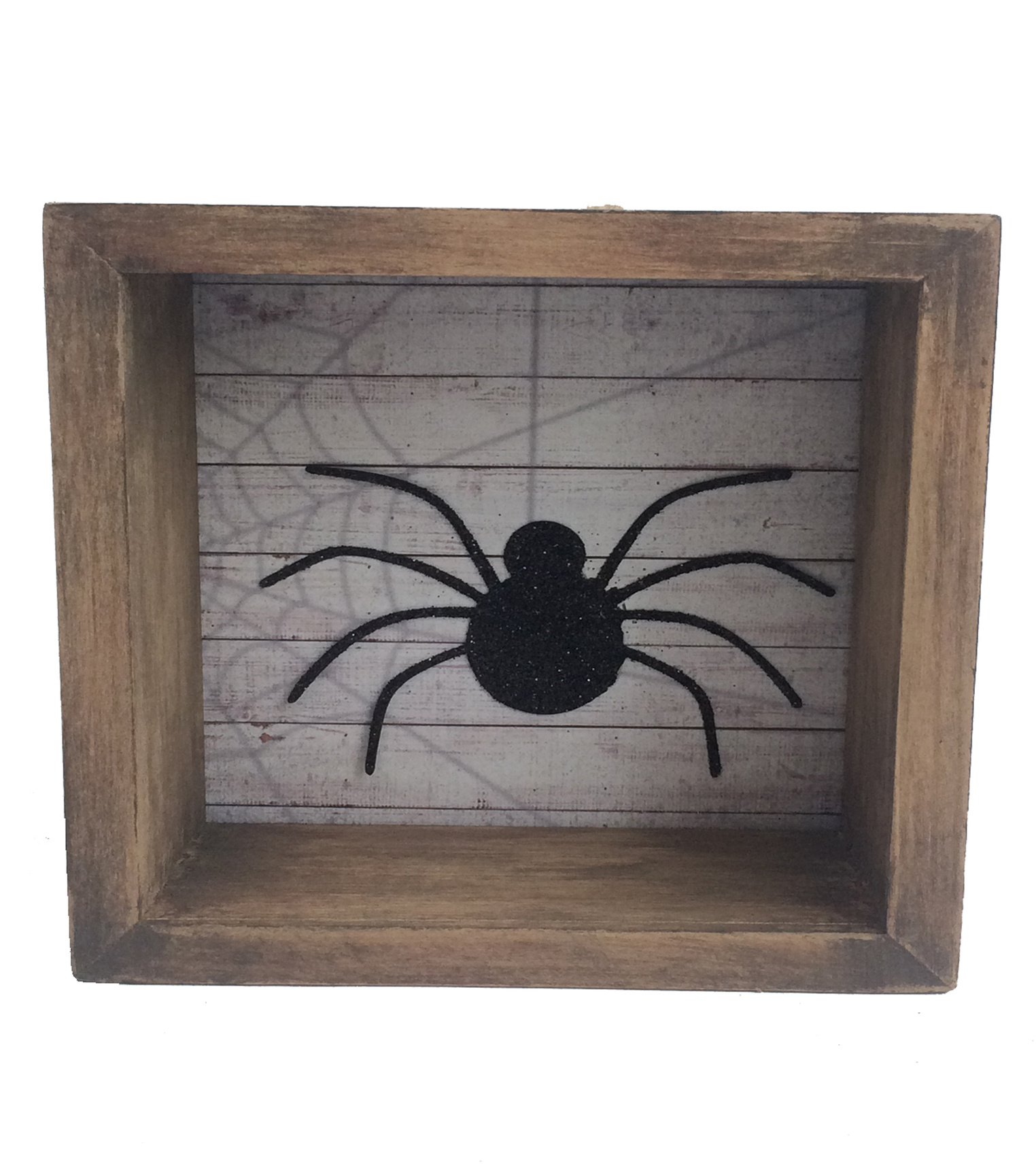 Maker\u0027s Halloween Small Wood Shadow Box-Spider