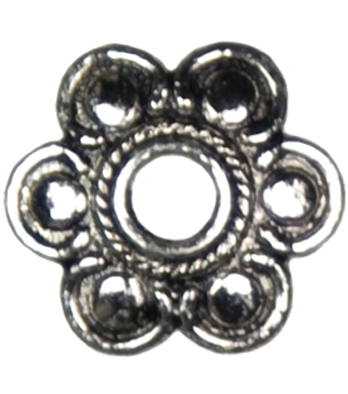 Jewelry Basics Metal Large Flower Caps 28/Pk-Silver