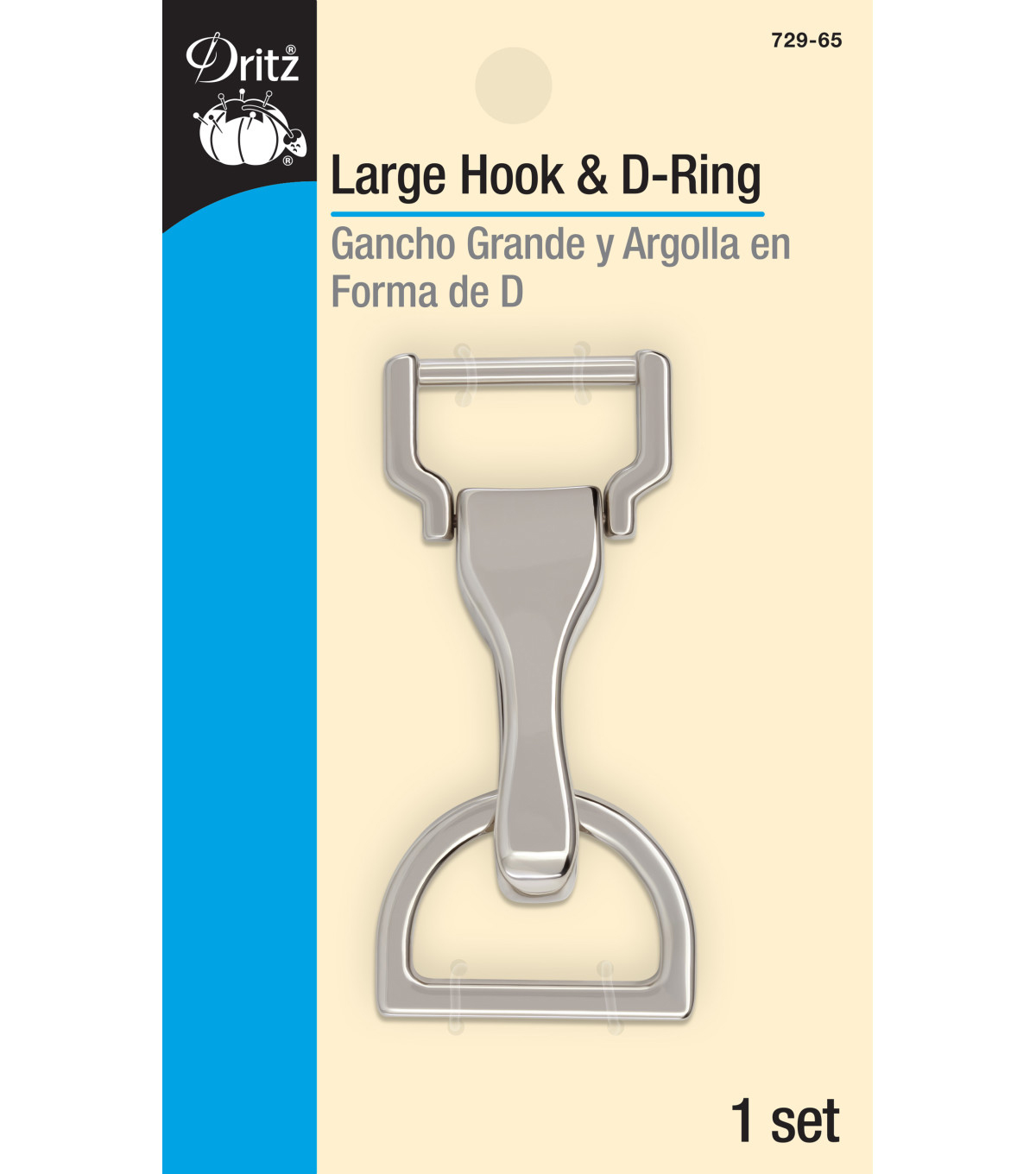 Dritz Large Hook & D-Ring-Nickel