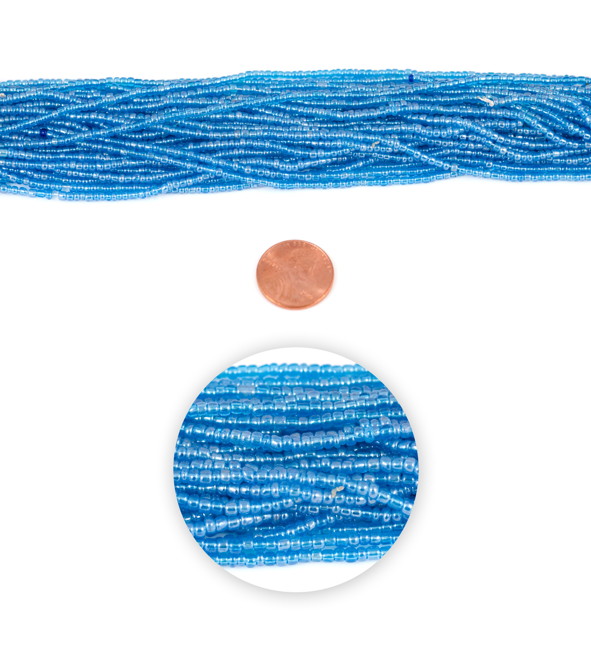 Blue Moon Strung Glass Seed Bead Hank,Light Blue