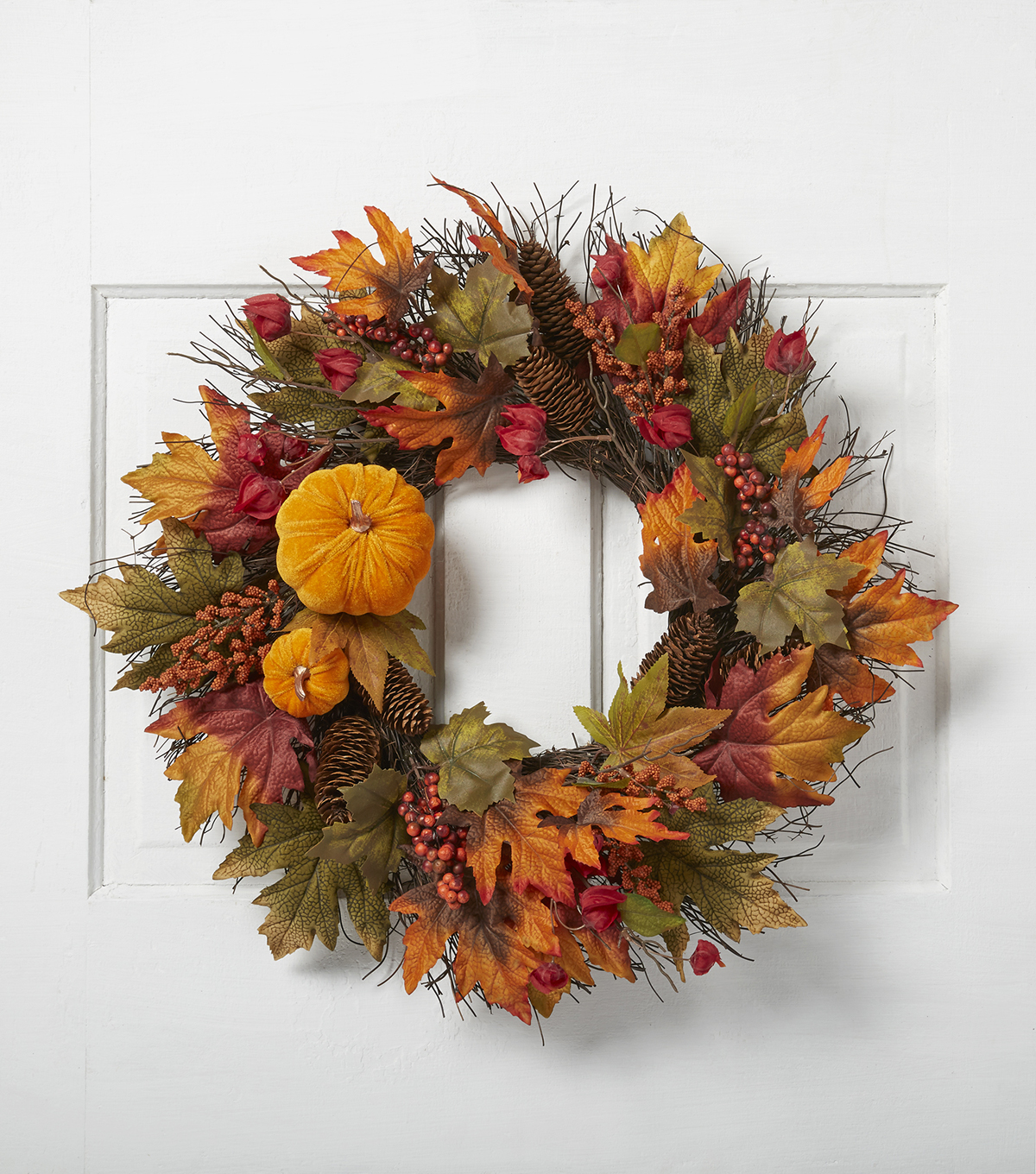 Blooming Autumn Pumpkin Lantern Berry Pinecone Wreath-Orange & Red