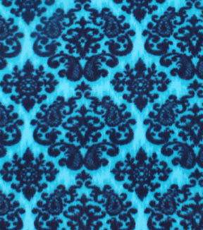 Anti-Pill Fleece Fabric 59\u0022-Peacock Blue Damask