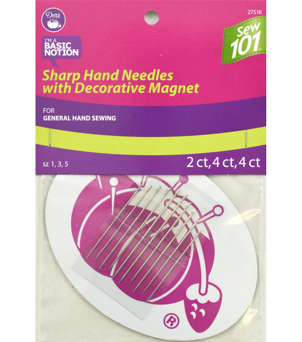 Dritz Sewing 101 Sharp Hand Needles With Magnets 10pcs Size 1, 3, 5