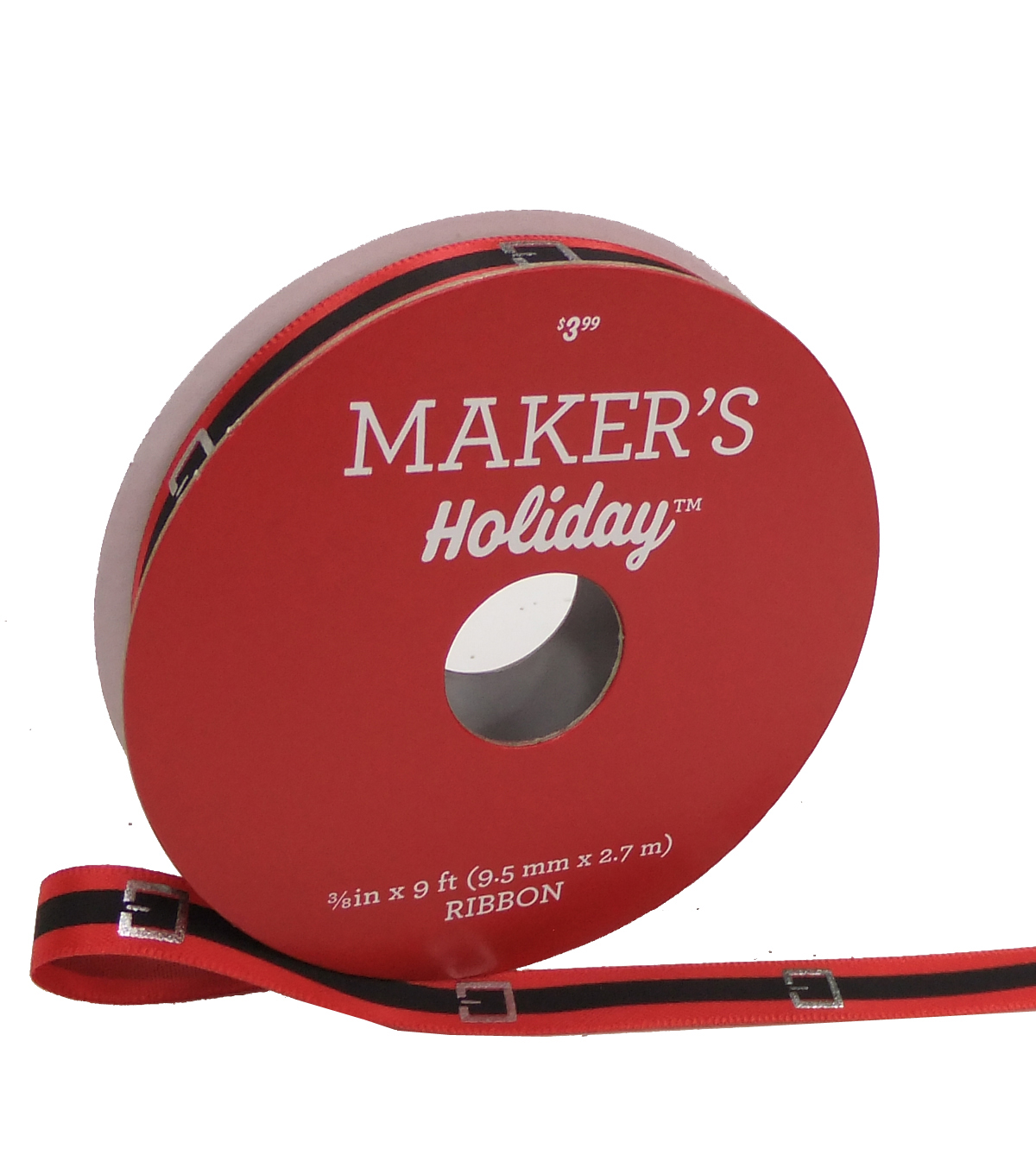 Maker\u0027s Holiday Christmas Ribbon 3/8\u0027\u0027x9\u0027-Santa Belt on Red