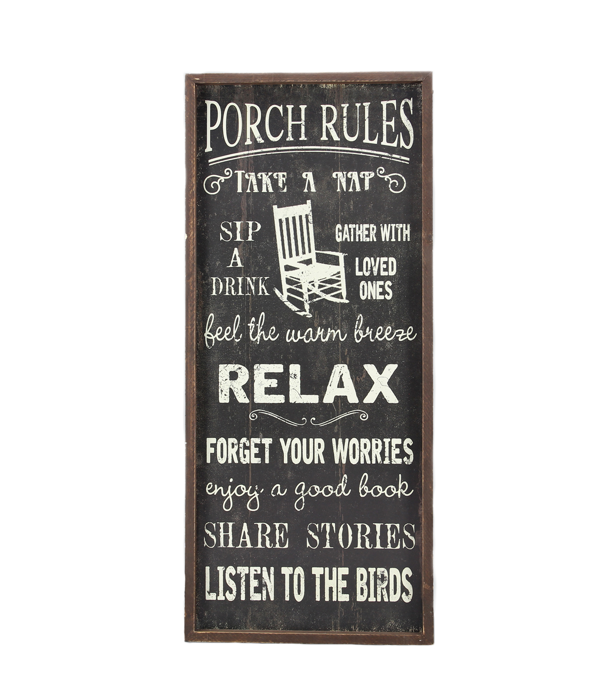 Porch Décor Wood Sign 13.5\u0027\u0027x30.75\u0027\u0027-Black with Cream Porch Rules