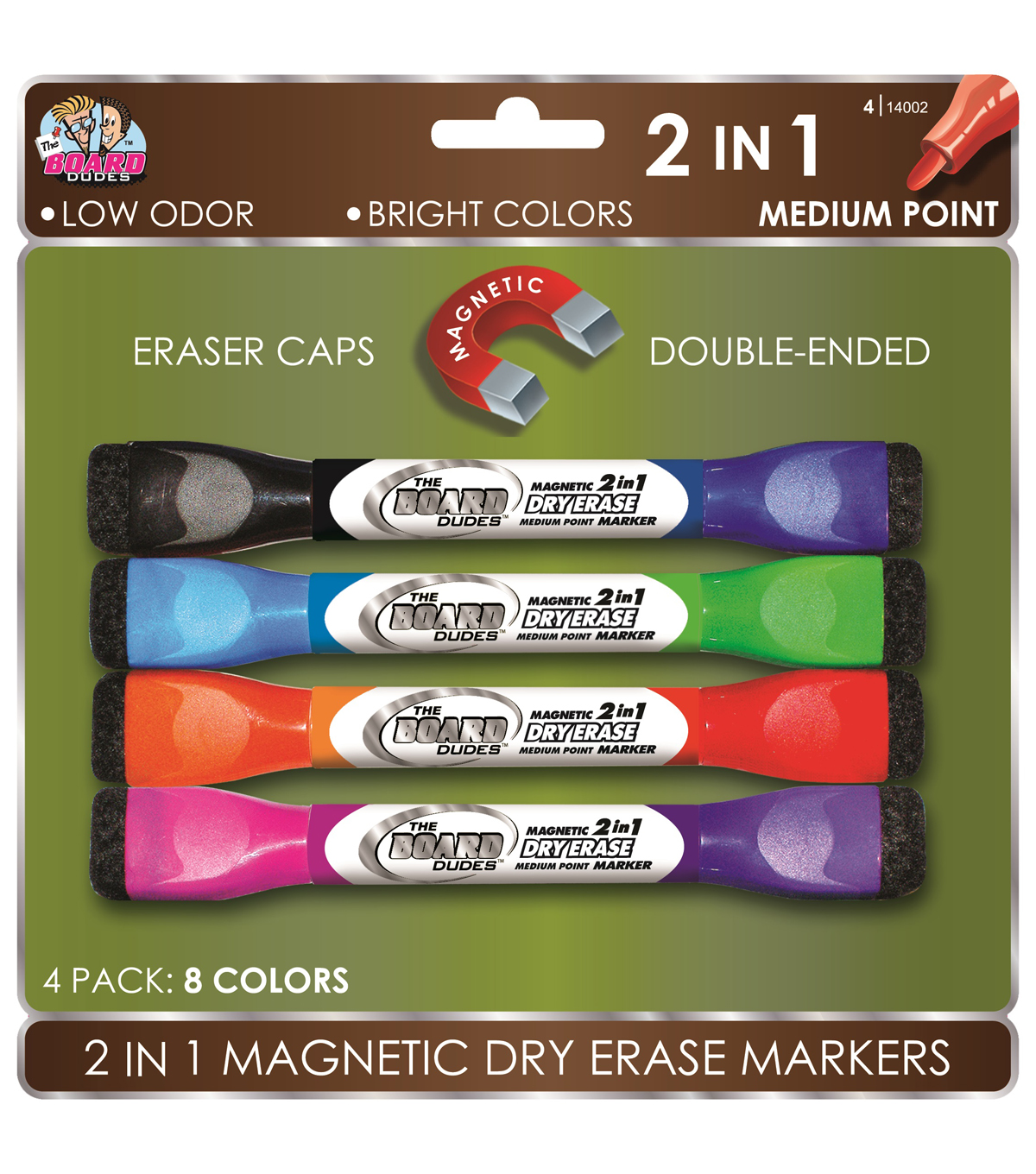 4pk Dble-Ended Mag Dry Erase Markers