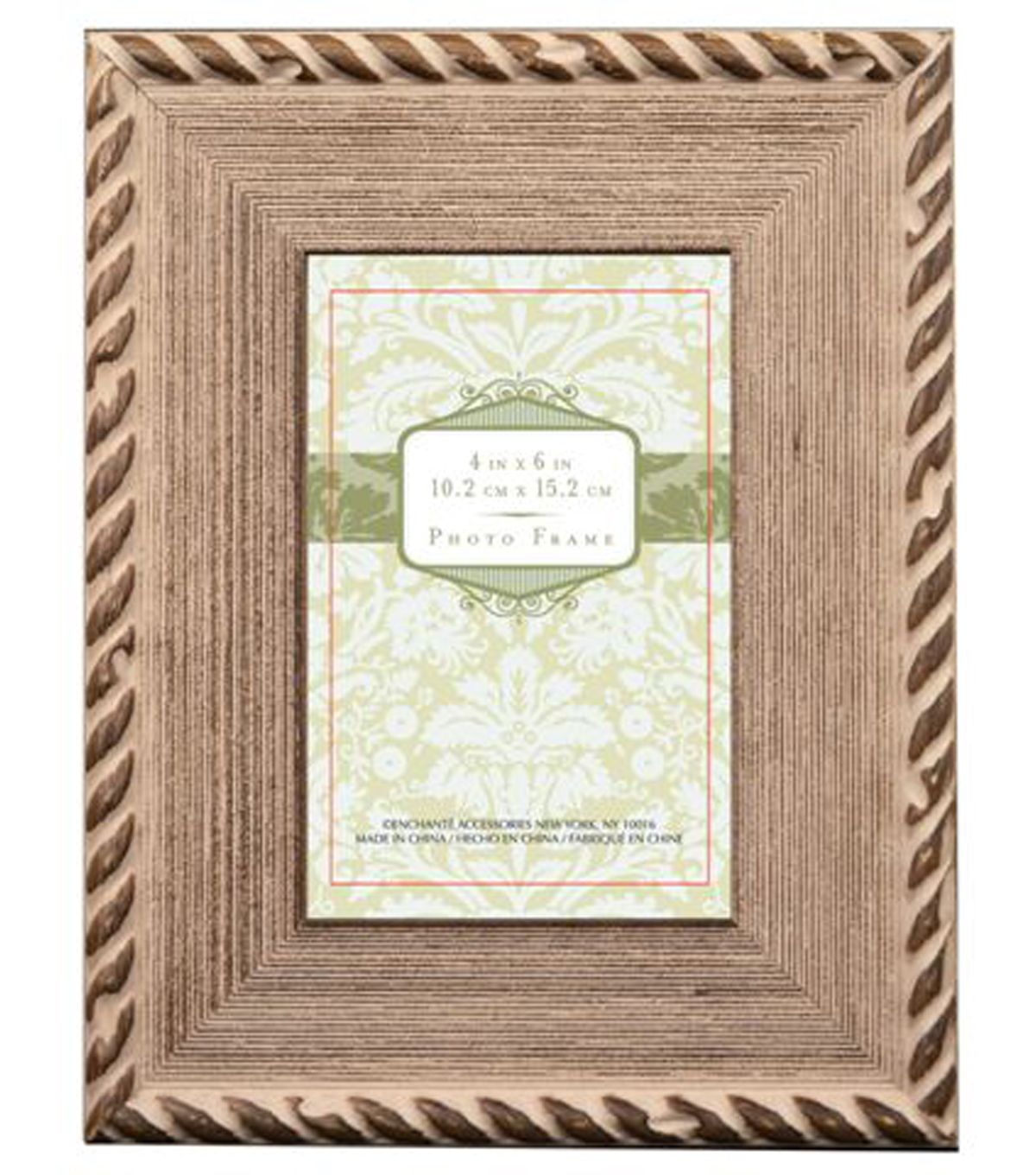 Natural Wood Frame 4x6-Brown With Rope Border