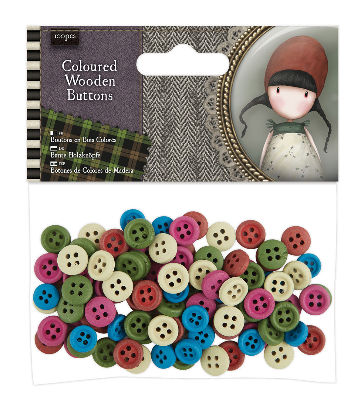 Santoro Gorjuss 100ct Wooden Buttons-Tweed