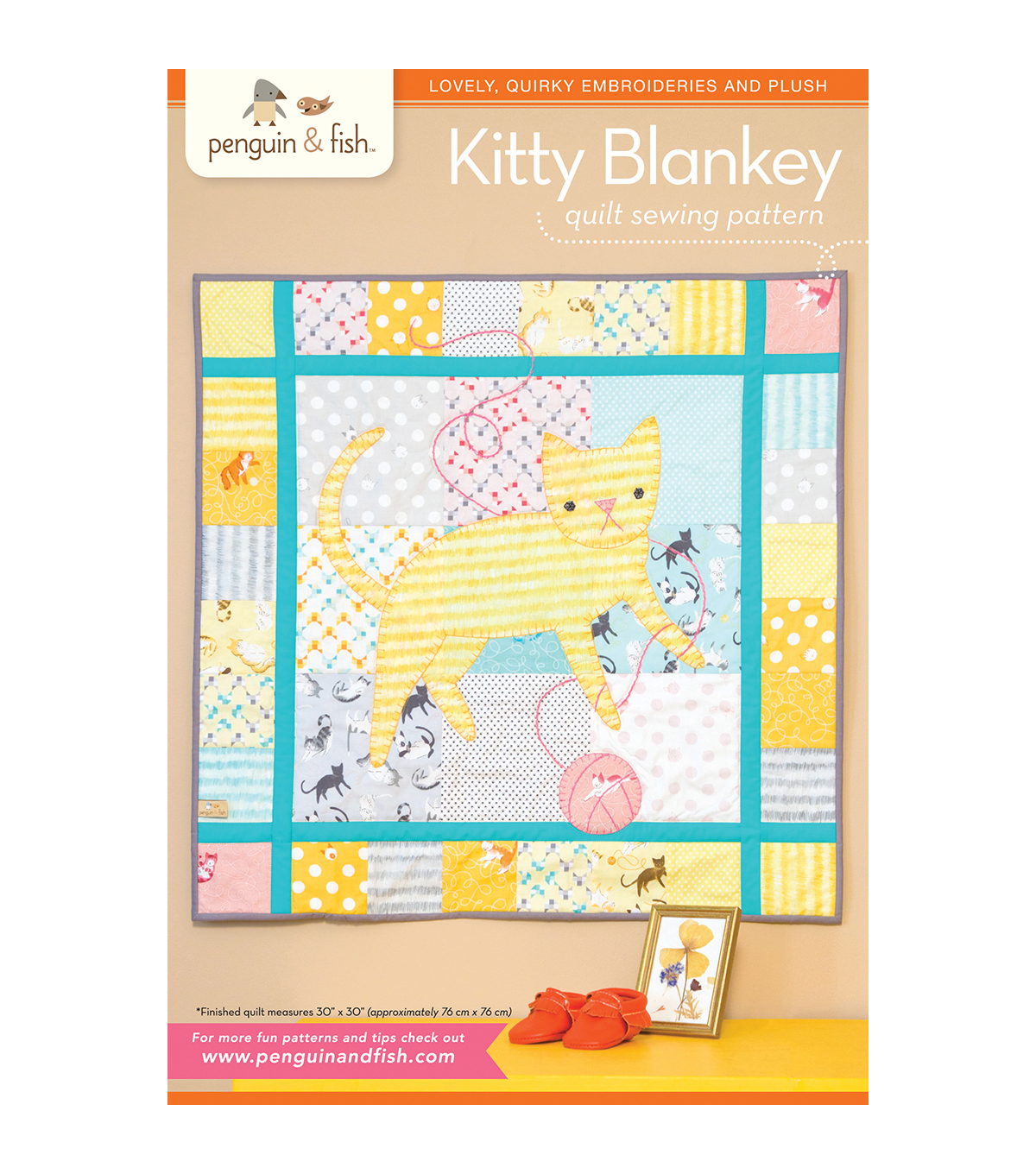 Penguin & Fish Embroidery Patterns-Kitty Blanket Quilt