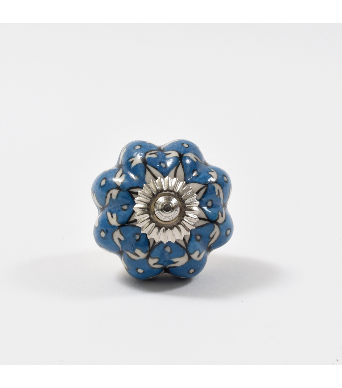 Dritz Home Ceramic Persian Floral Scallop Knob-Medium Blue