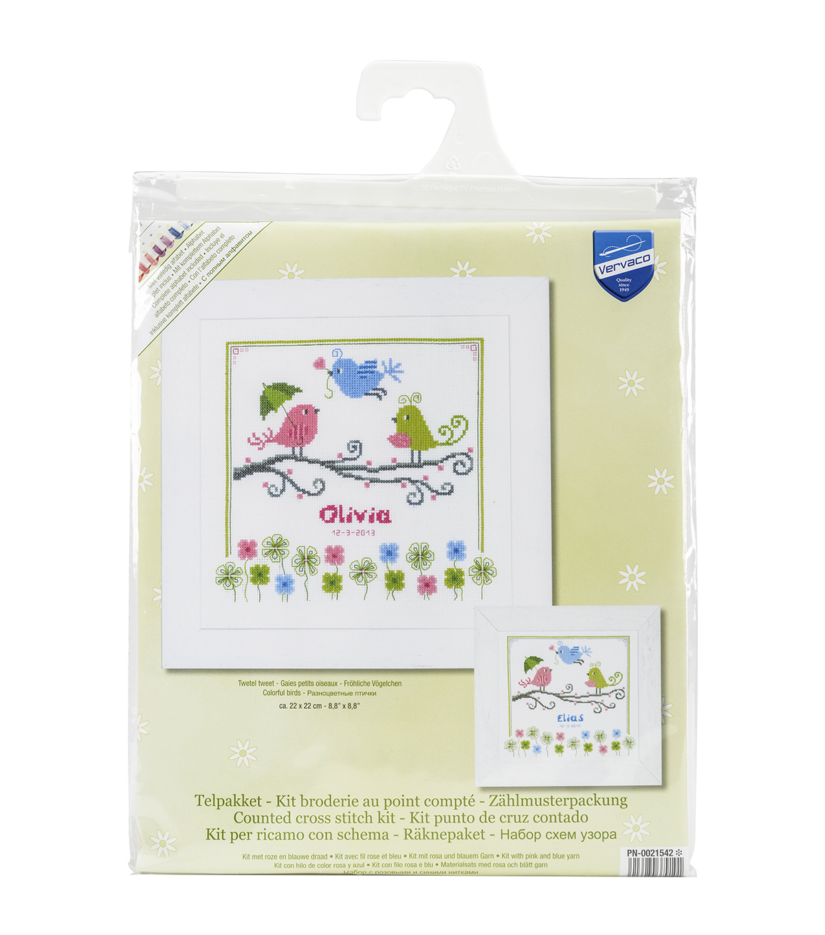 Vervaco Birth Record On Aida Counted Cross Stitch Kit-Colourful Birds