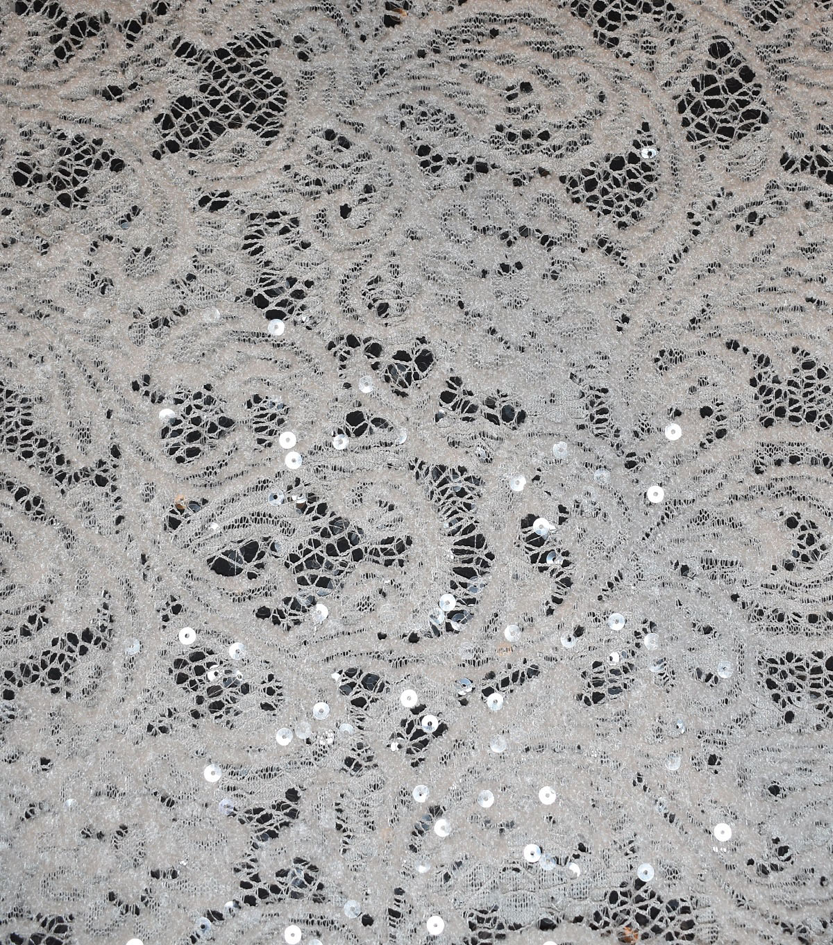 Save the Date Sequin Fabric 54\u0022-Eggnog Lace