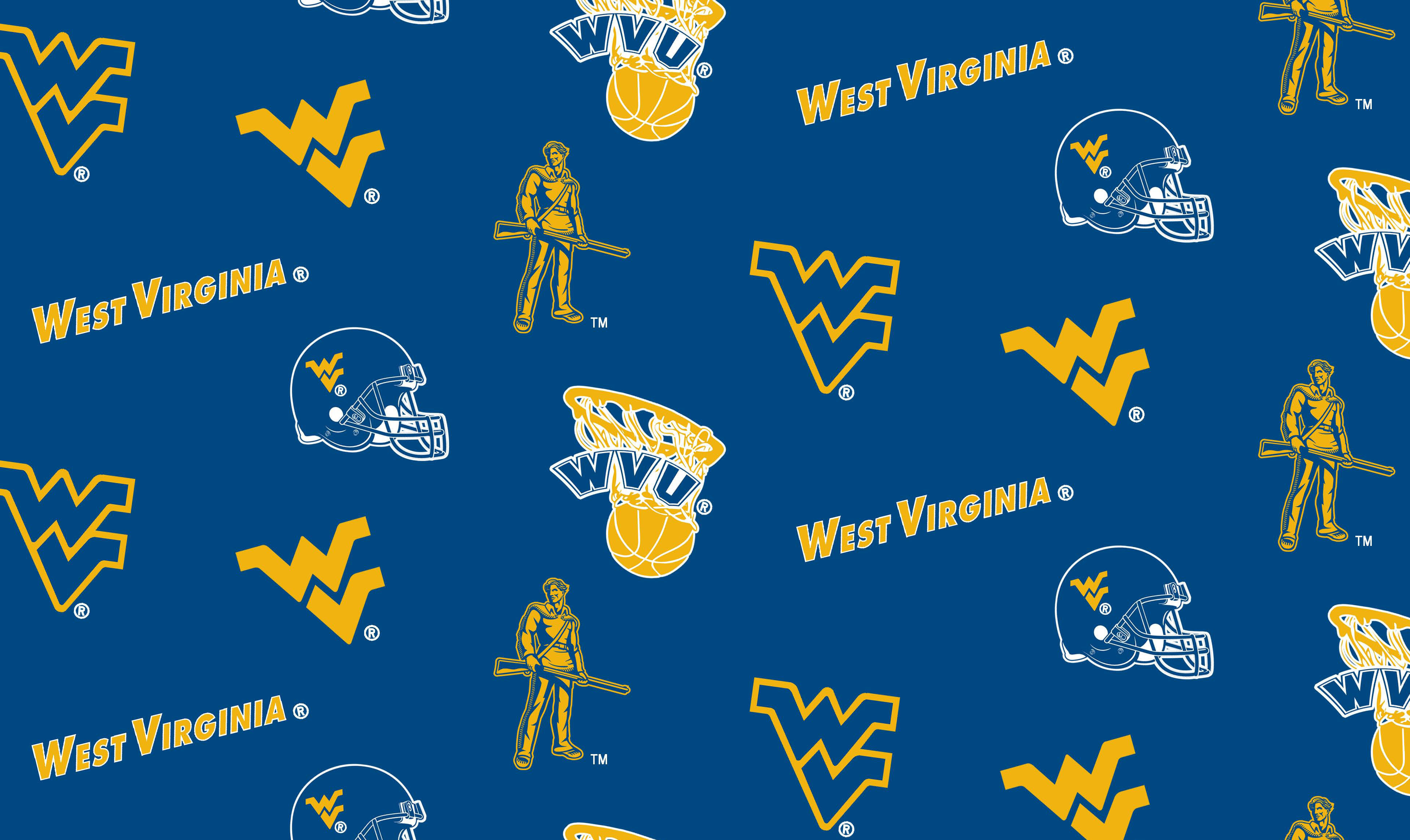"West Virginia University Mountaineers Fleece Fabric 58""-All Over"