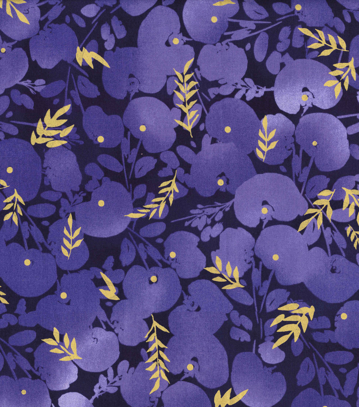 Kathy Davis® Cotton Fabric 44''-Large Tonal Floral on Navy