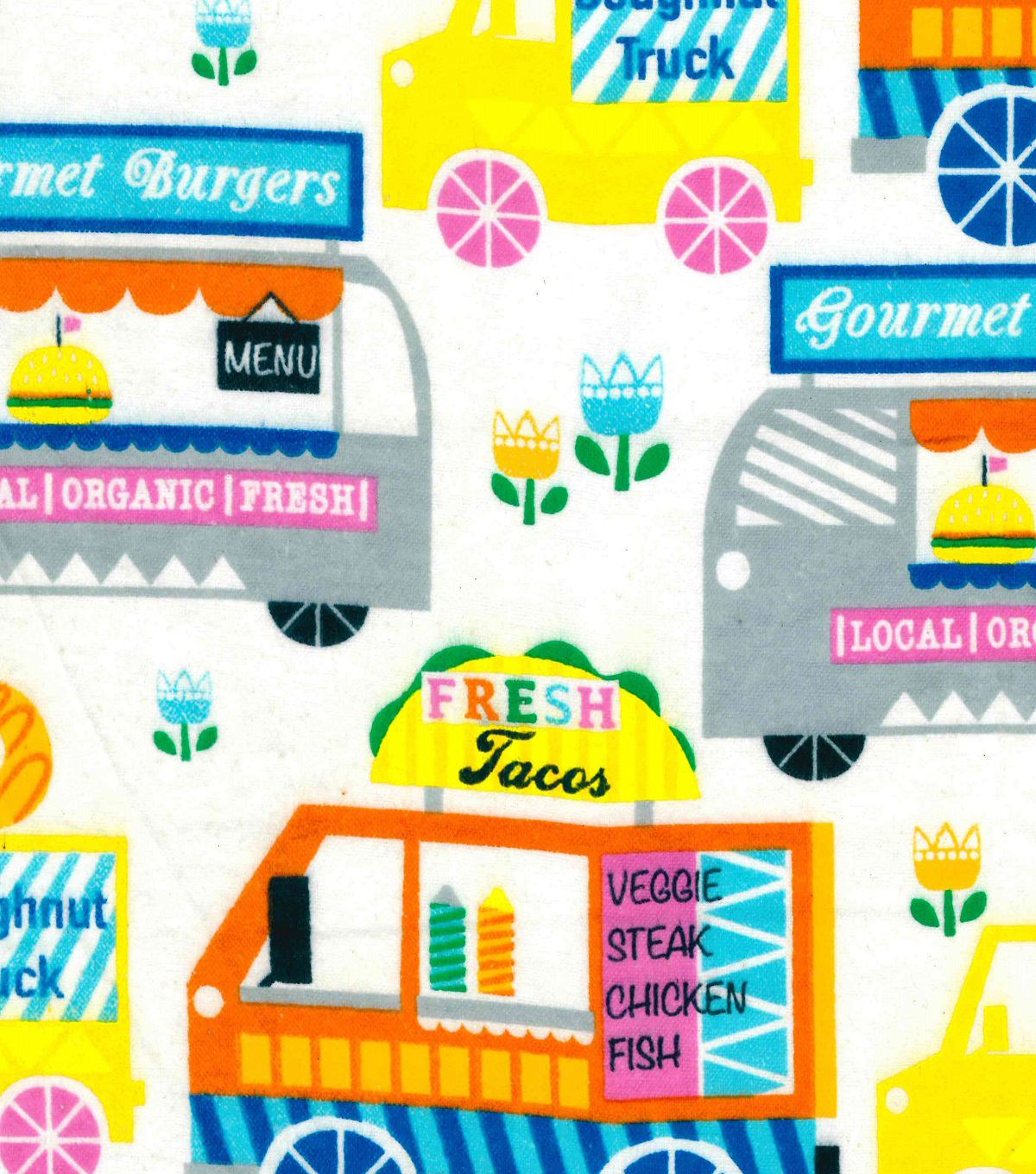 "Snuggle Flannel Fabric 41""-Food Trucks"