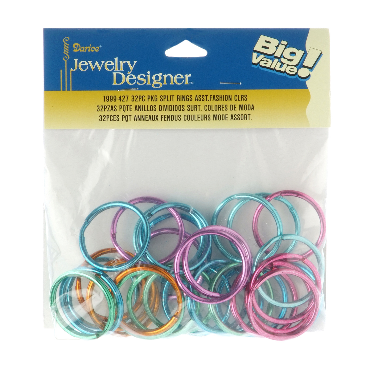 32mm Split Rings, Assorted Fashion Colors, 32pcs