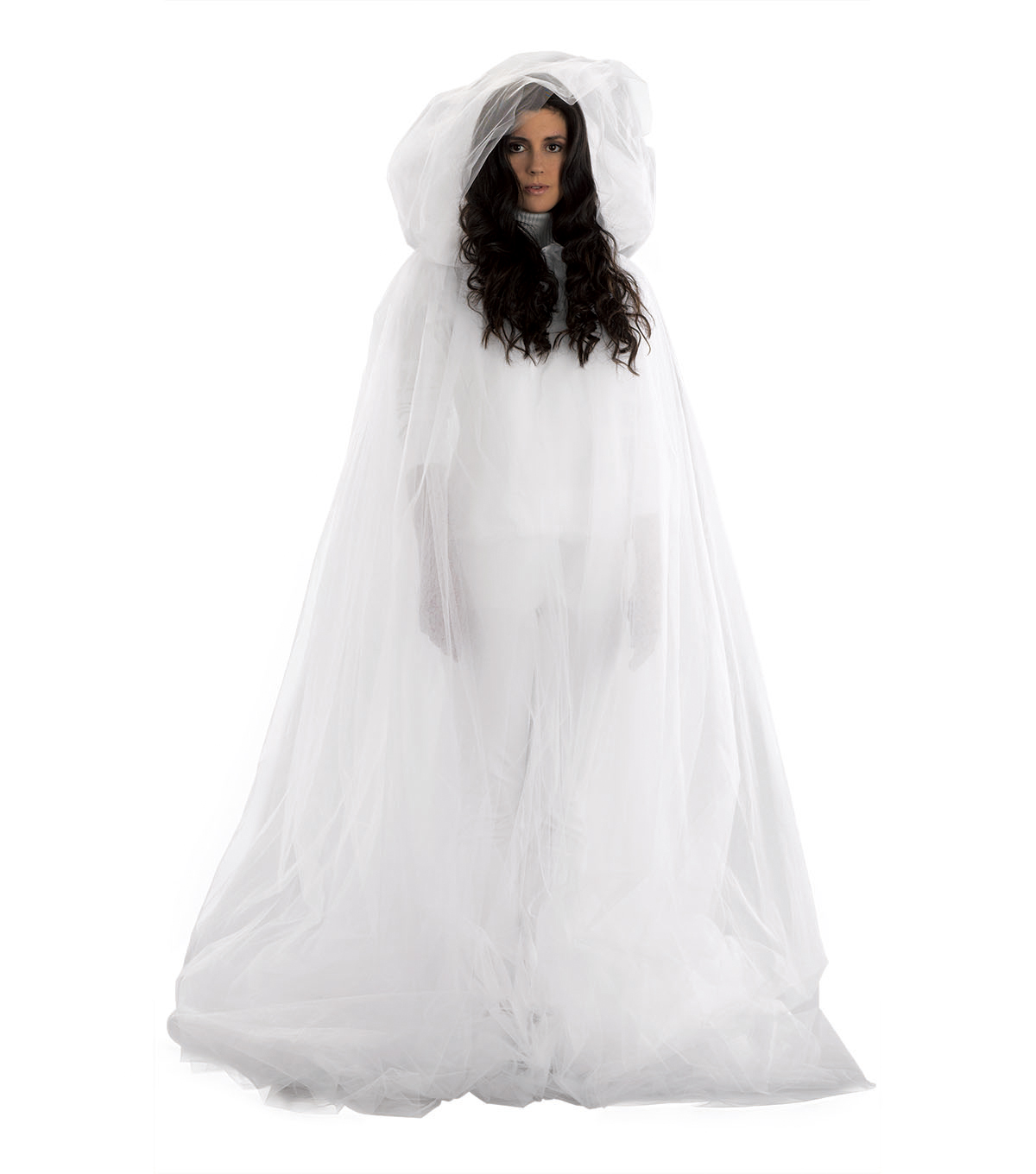 Maker\u0027s Halloween Adult Matte Tulle Ghost Cape-White