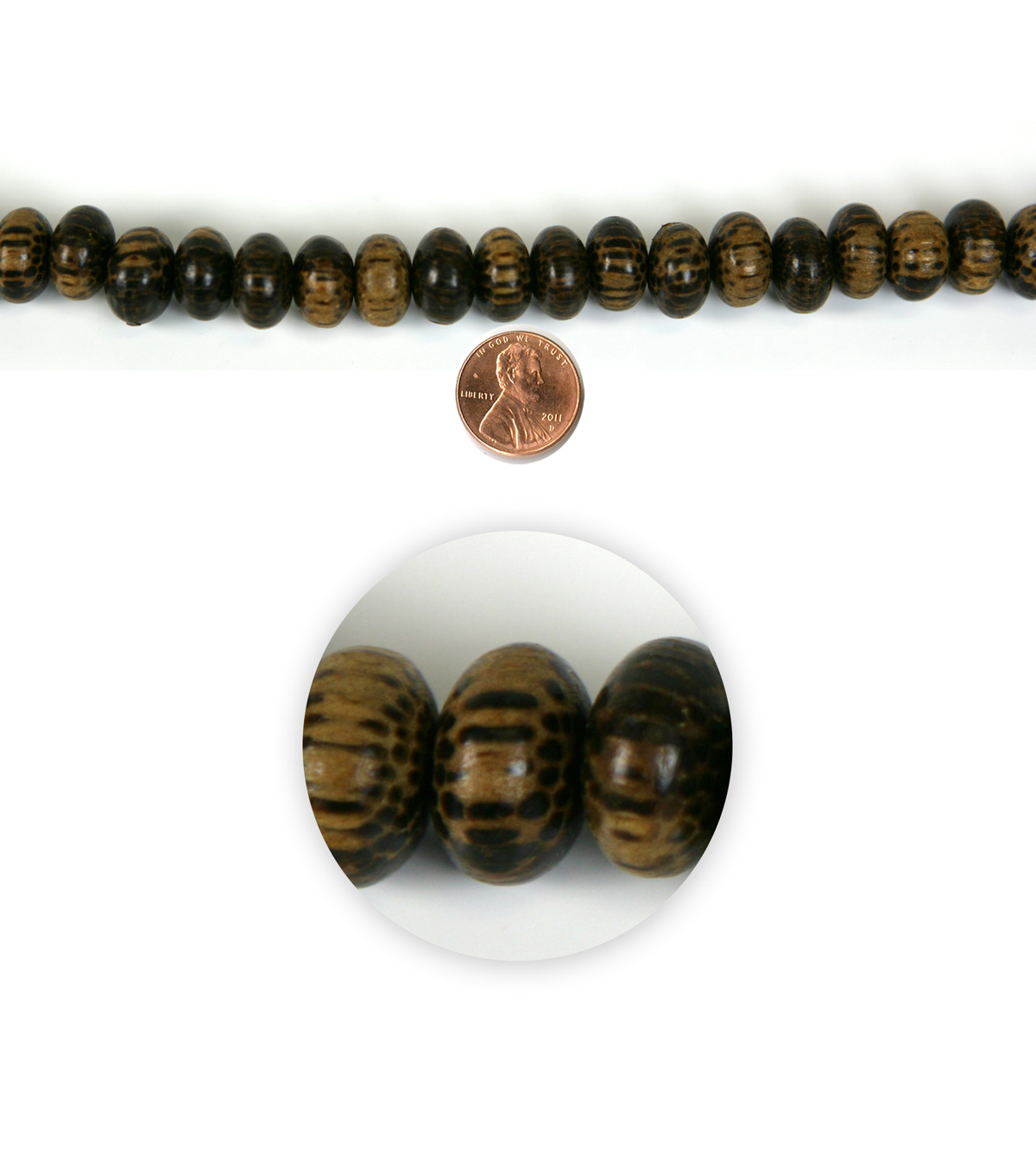 Blue Moon Strung Coco Wood Beads,Wheel,Brown w/Black