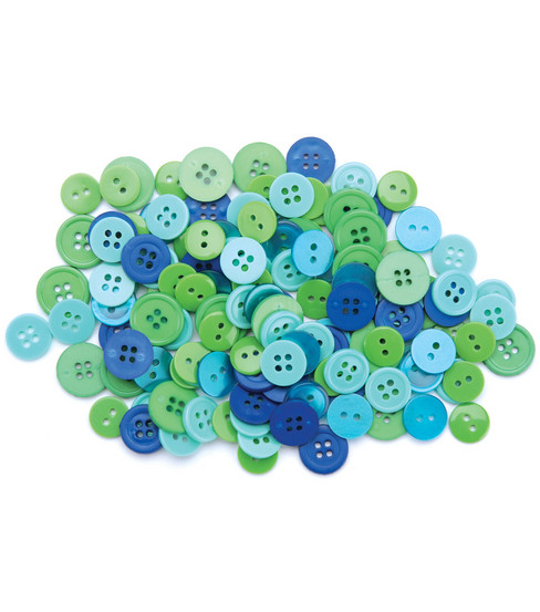 Favorite Findings Basic Buttons Assorted Sizes-Ocean 130/Pkg