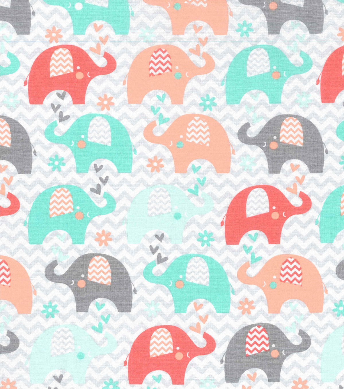 Nursery Cotton Fabric 43\u0022-Coral Dream Big Chevron Elephant