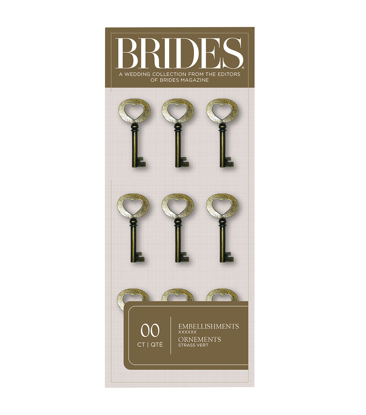 Save The Date 12 Pack Antique Heart Keys-Brass