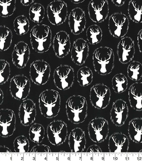 Quilter\u0027s Showcase Cotton Fabric-Deer Head Black