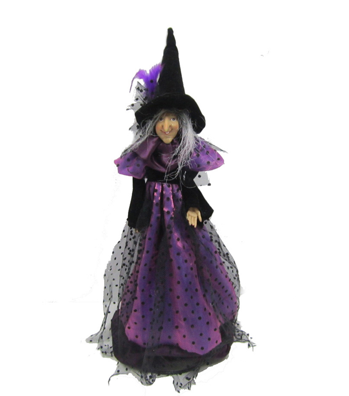 Maker\u0027s Halloween Small Standing Witch Doll with Purple Skirt