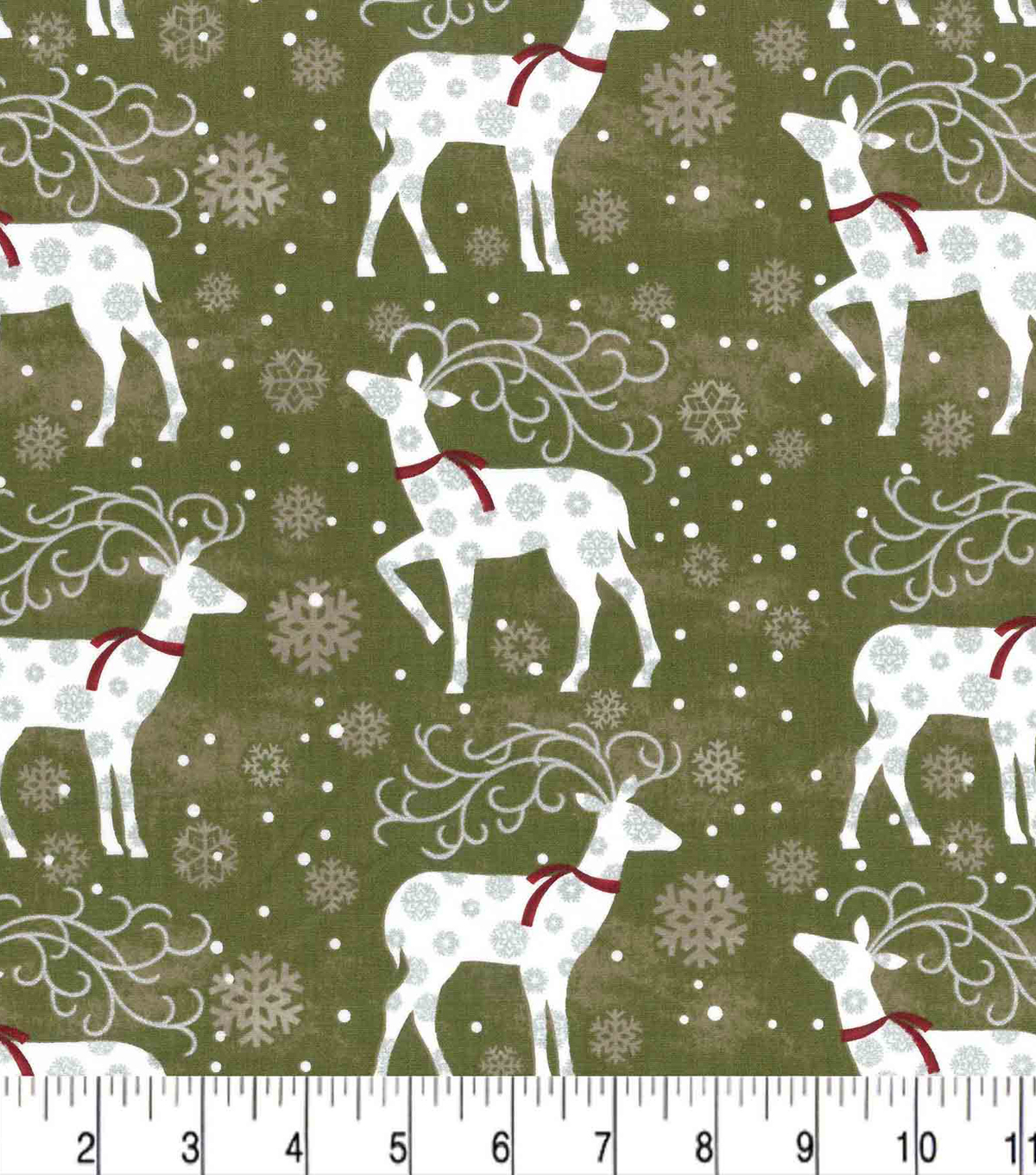 Maker\u0027s Holiday Cotton Fabric 43\u0022-Deer and Flakes
