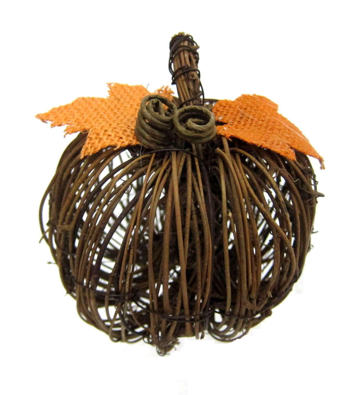 Pumpkin Boutique Extra Small Rattan Pumpkin with Orange Leaves