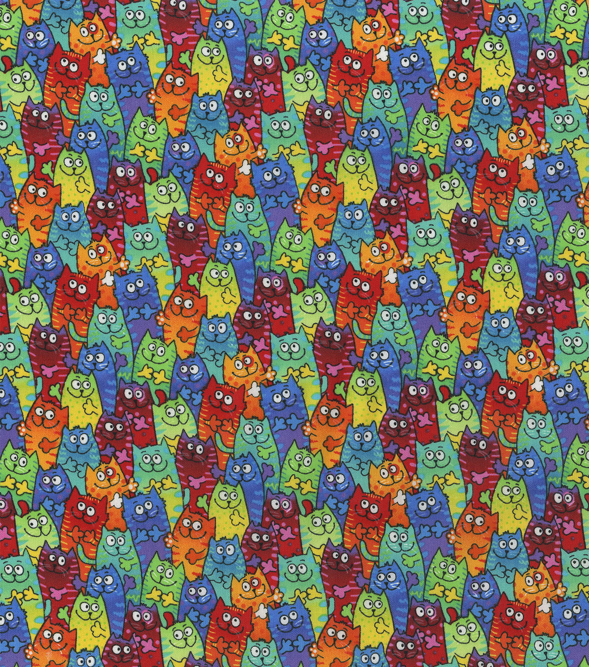 Novelty Cotton Fabric 44''-Tie Dye Packed Cats