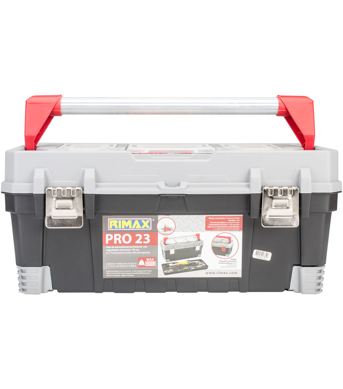 Rimax Pro 23 Toolbox With Metal Latch-Black, Gray & Red
