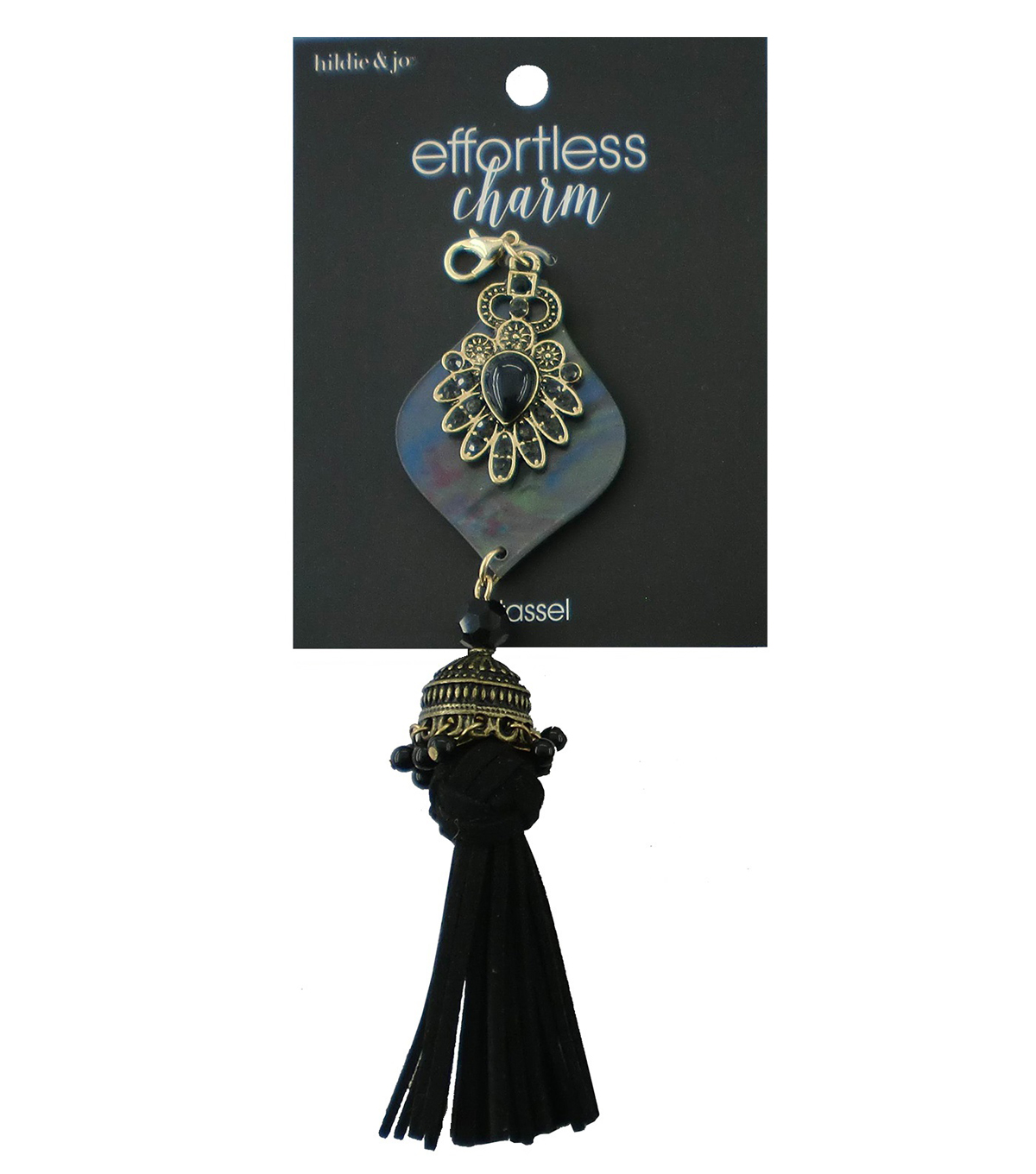 hildie & jo Effortless Charm Antique Gold Tassel-Iridescent Faux Shell