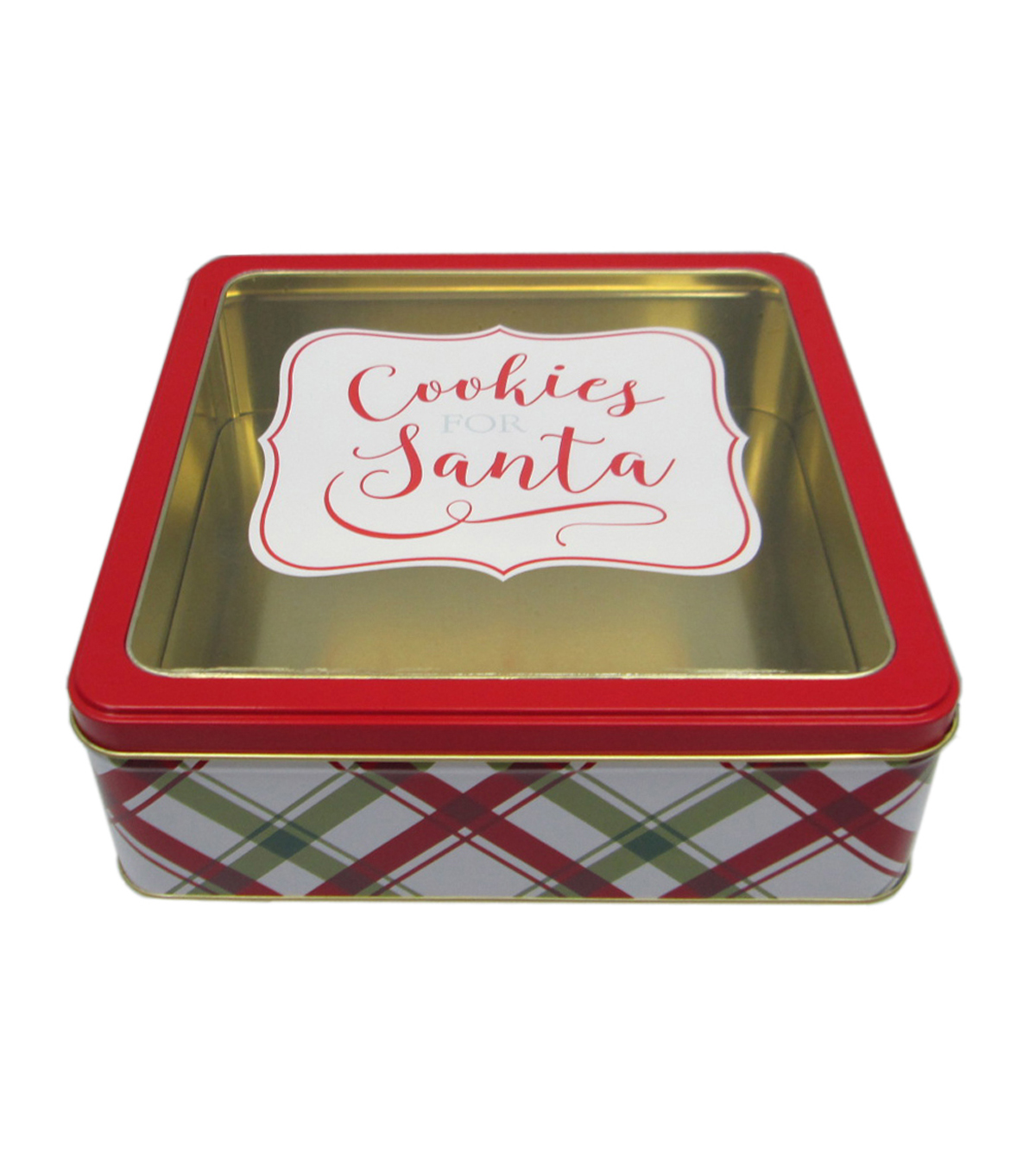 Maker\u0027s Holiday Small Square Cookie Tin With Clear Top-Cookies for Santa
