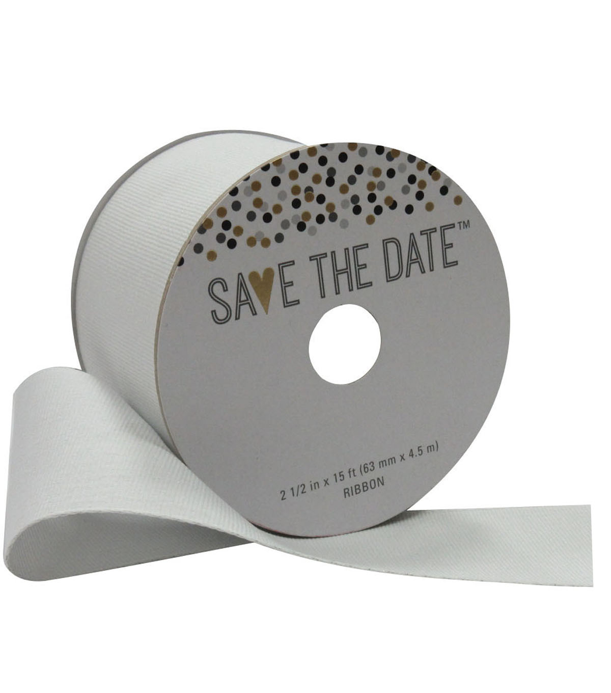Save the Date 2.5\u0027\u0027 X 15\u0027 Ribbon-Metallic White Grosgrain