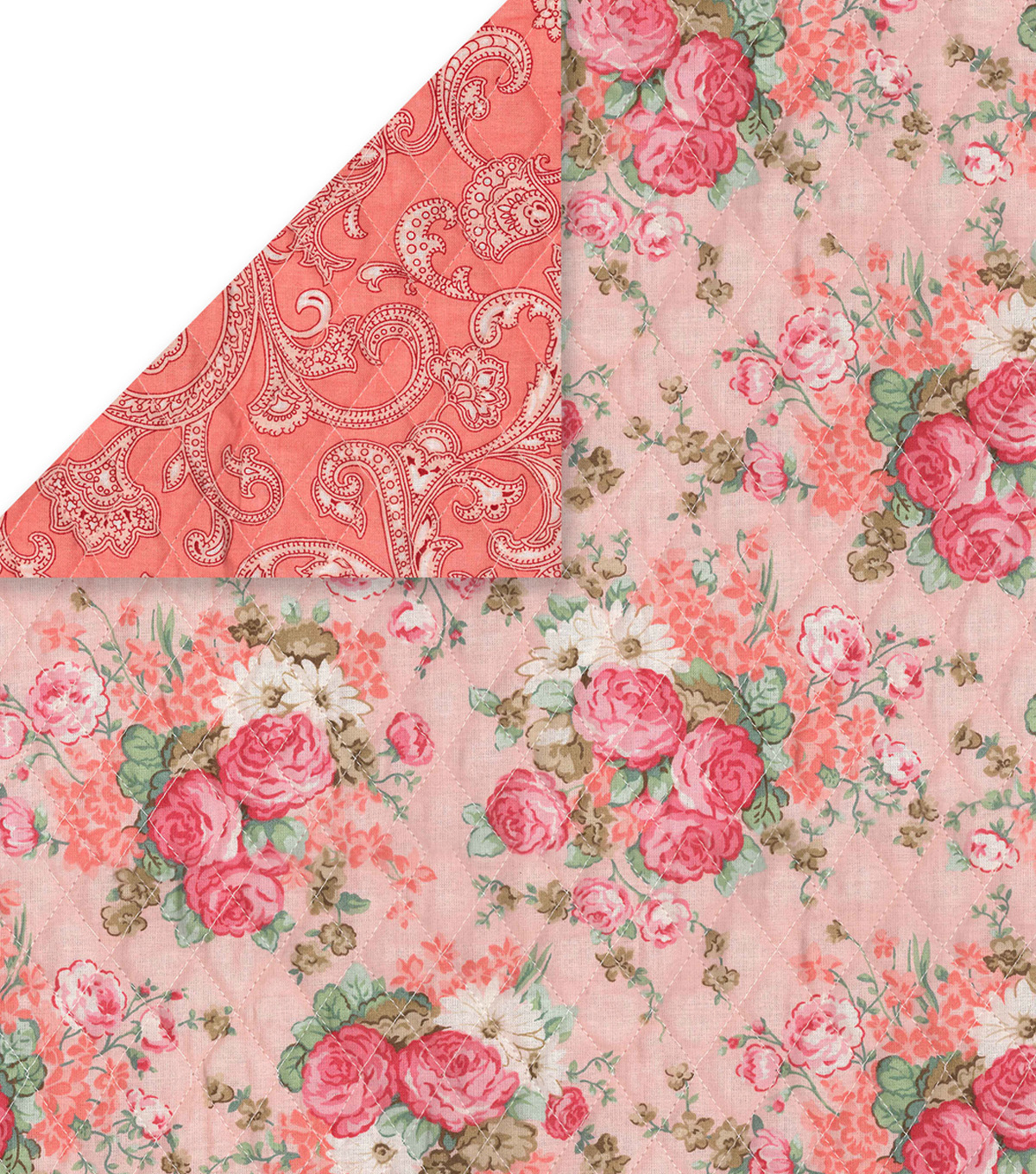 "Double Faced Pre-Quilted Cotton Fabric 42""-Vintage Floral"