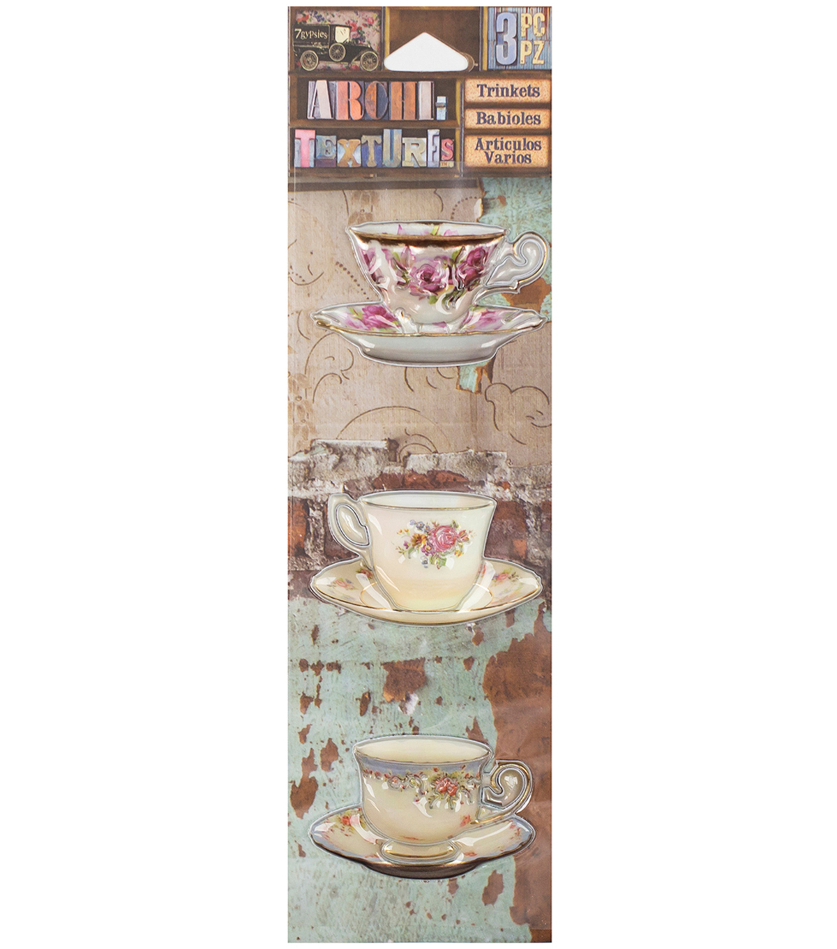 "Architextures Trinkets Adhesive Embellishments-China Tea Cups 2"","
