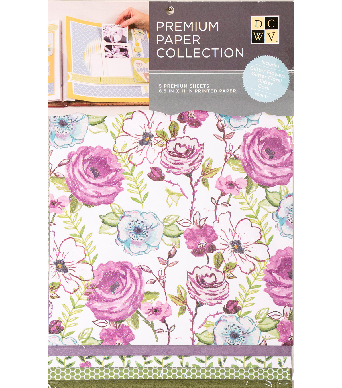 "DCWV 8.5""X11"" set of 5 Premium Papers-Purple Multipack"