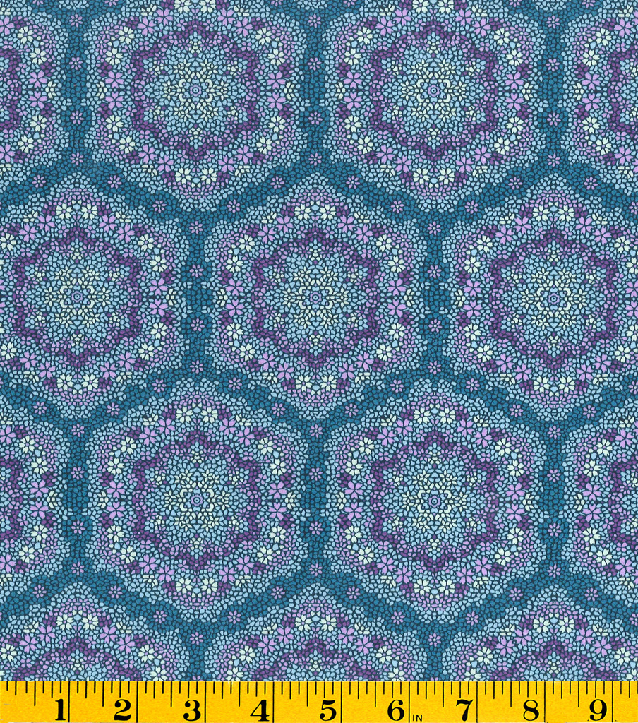 Made In America Cotton Fabric-Floral Medallion Blue