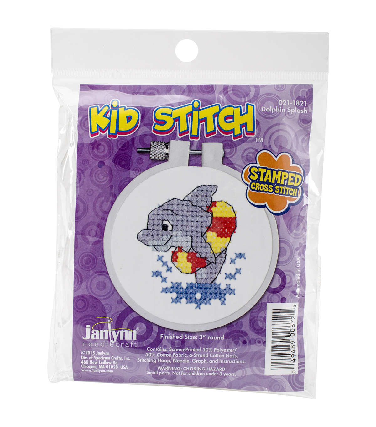 Janlynn Kid Stitch Stamped Cross Stitch Kit-Dolphin Splash