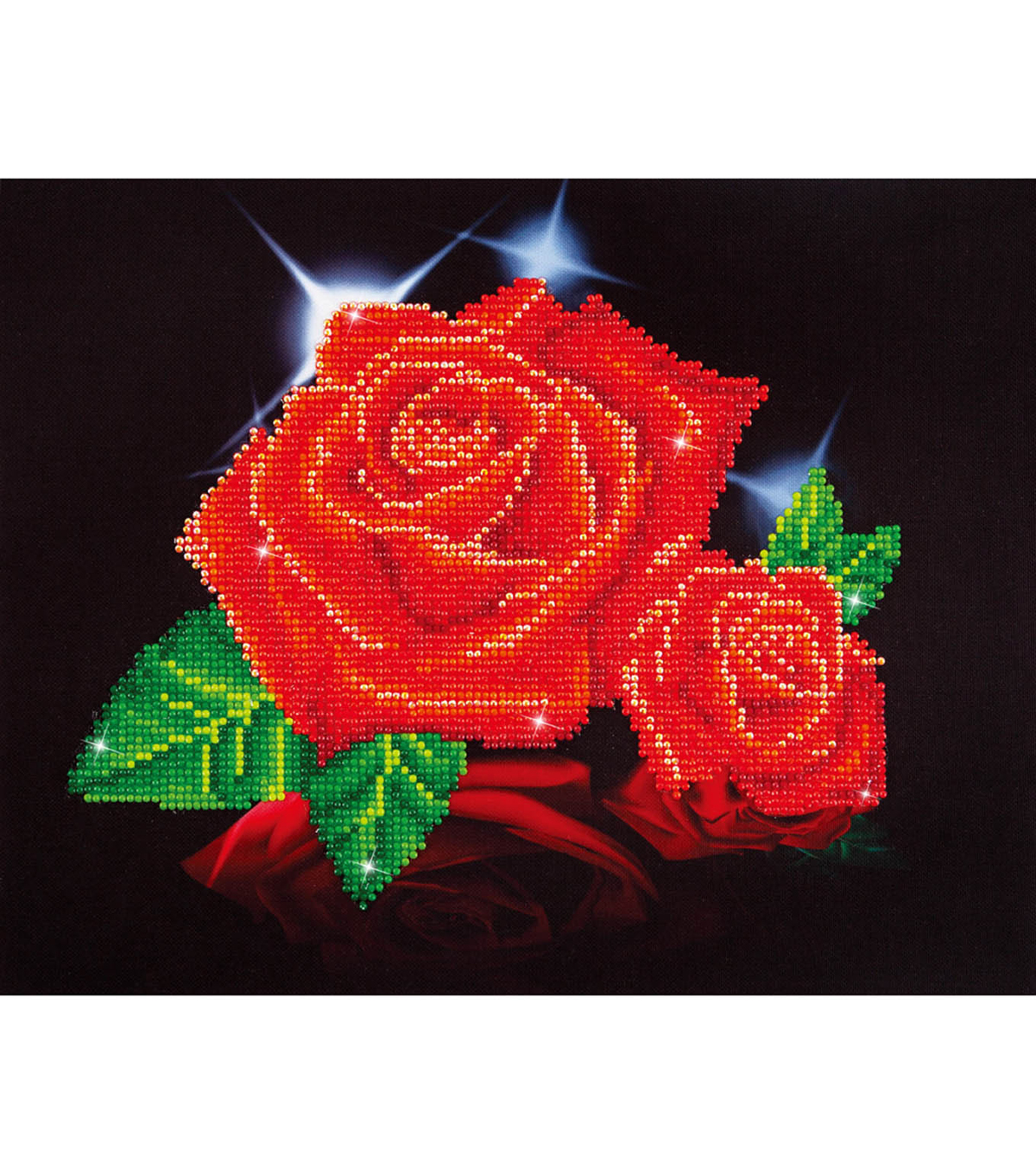 Diamond Embroidery Facet Art Kit 17\u0022X13.7\u0022-Red Rose Sparkle