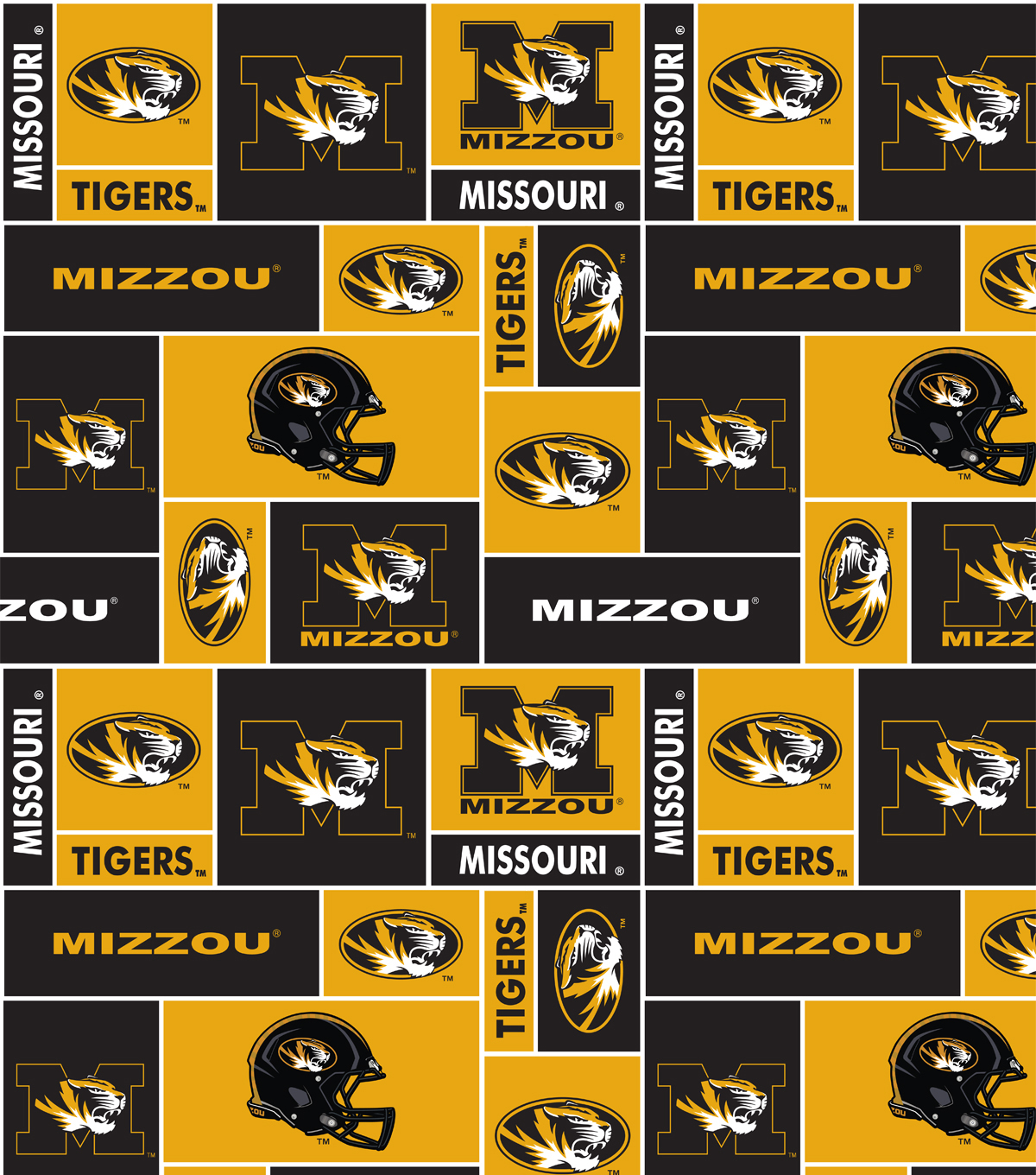 University of Missouri Tigers Fleece Fabric 58\u0022-Block