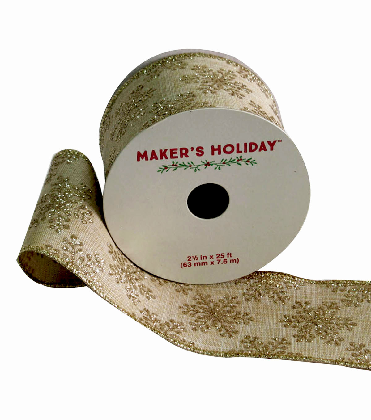 Maker\u0027s Holiday Burlap Ribbon 2.5\u0027\u0027x25\u0027-Gold Glitter Snowflakes