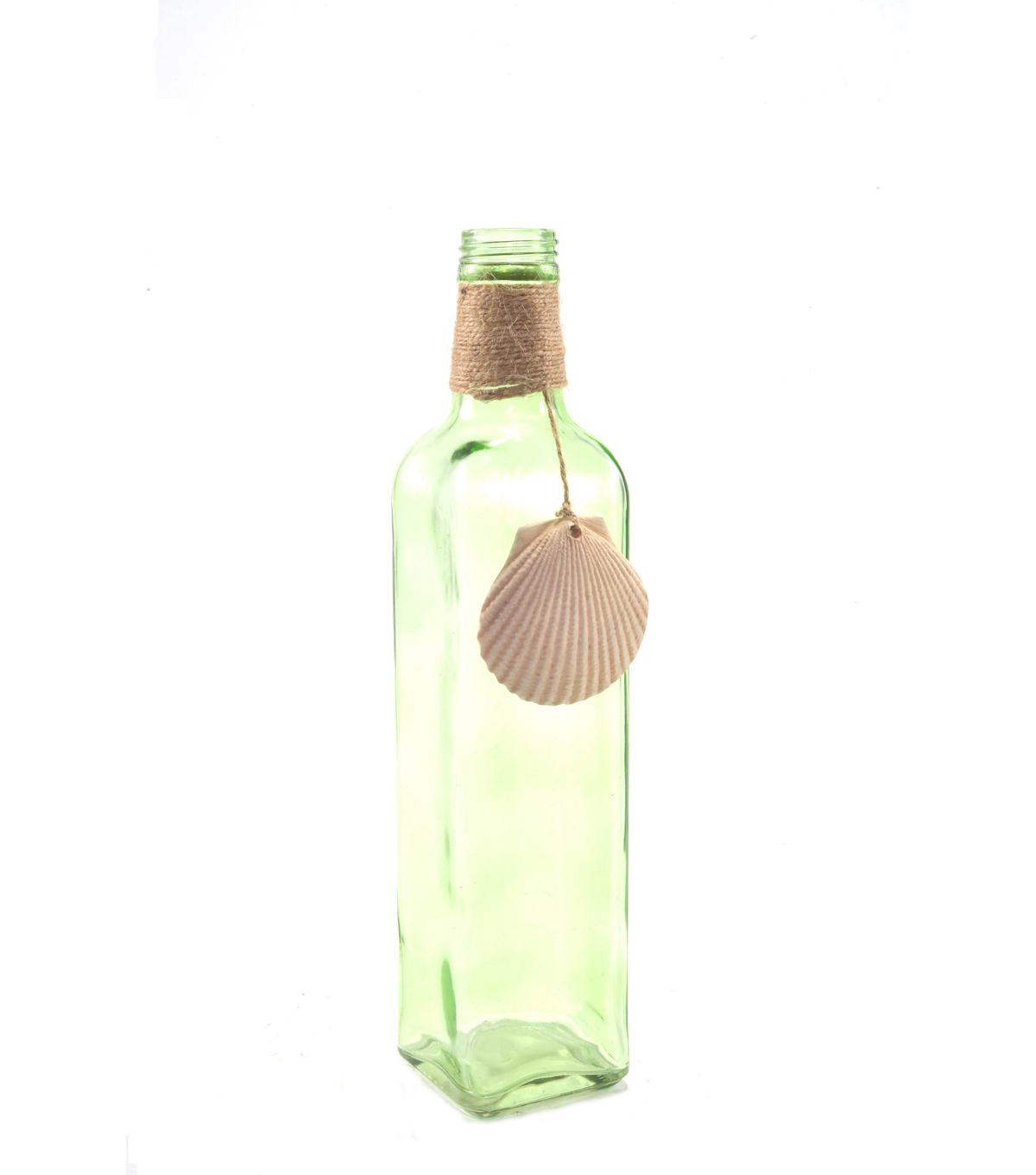 Bloom Room Glass Bottle With Shell Shape-Green