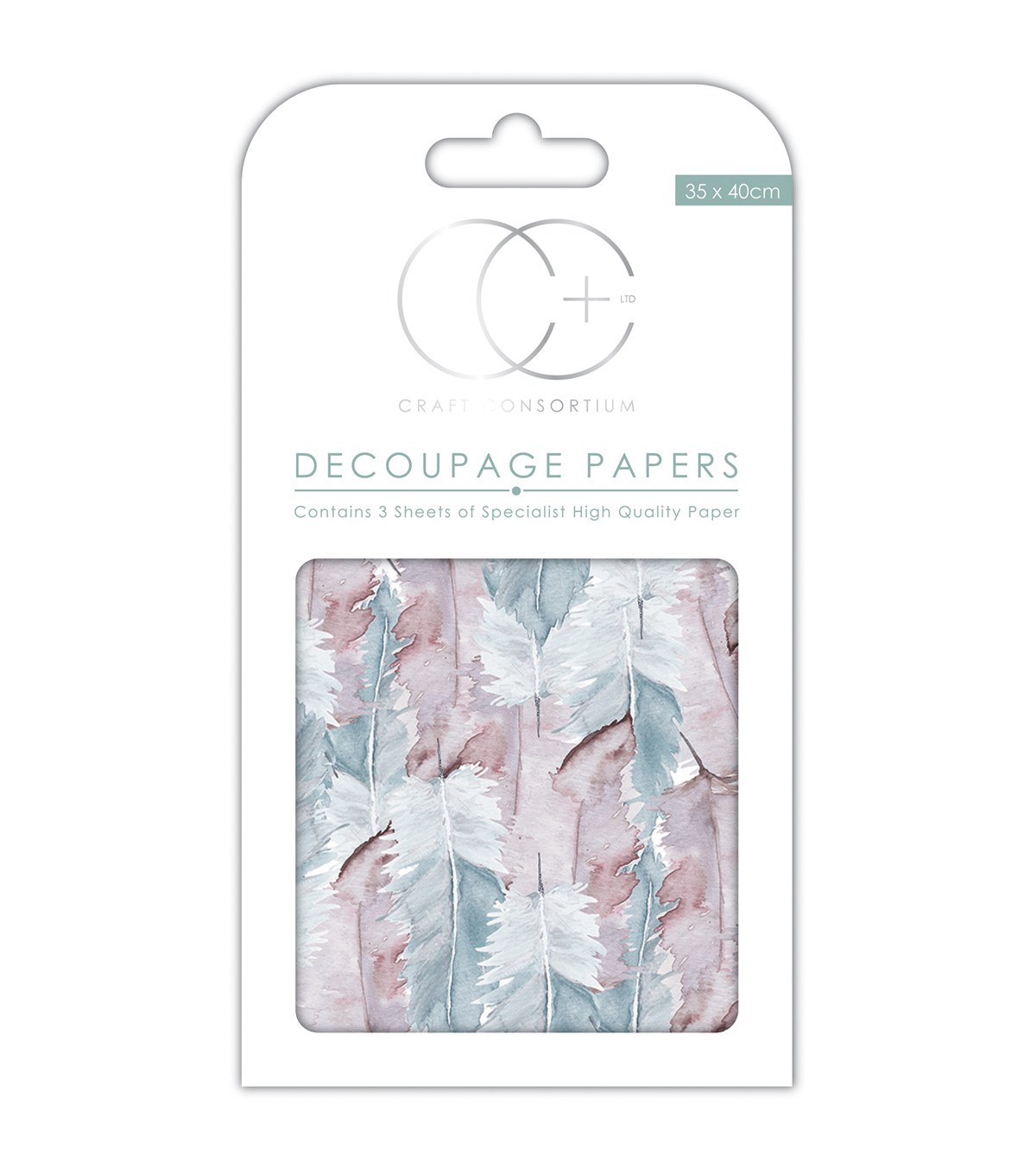 Craft Consortium 3pcs 13.75''x15.75'' Decoupage Papers-Feather Collage