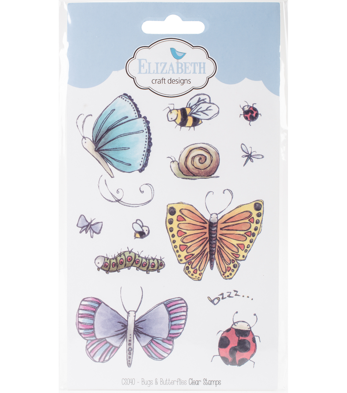 Elizabeth Craft Designs 12 pk Clear Stamps-Bugs & Butterflies